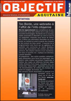 Objectif Aquitaine, tooBordo webradio à Bordeaux