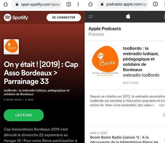 Les podcasts tooBordo (ateliers radio jeunesse à Bordeaux, cartes postales radio...)